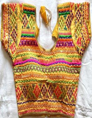 orange heavy banglori fabric embroidery work casual