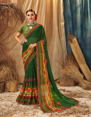 green georgette  fabric printed  work casual