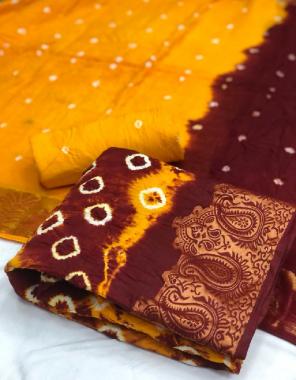 yellow + marron pure cotton satin top,cotton bandhej bottom,cotton shaded bandhej  with 2 jari boder fabric bandhani  work festival