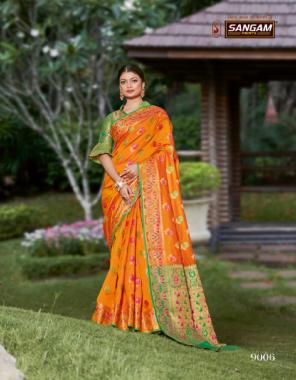 orange  banarasi silk  fabric banarasi silk work  work party