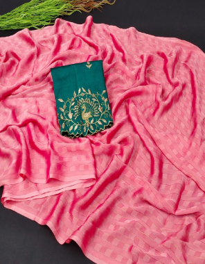 pink  cotton silk fabric plian saree with embroidery work blouse  work casual