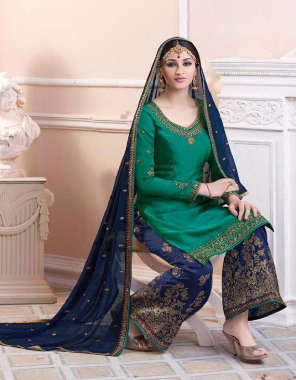 rama top:-satin georgette with emb work | bottom:-jaykard with emb work |dupatta:-georgette with emb work   fabric embroidery work  work festival