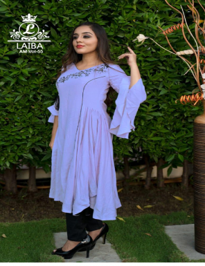 light purple top : pure cotton flex | bottom : pure cotton streachable  fabric embroidery work  work feastval