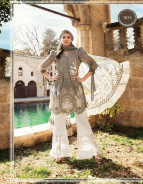 grey  pakistani lawn  fabric embroidery work  work party