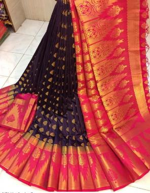 red + navy blue  nylon silk  fabric golden printed work ethnic