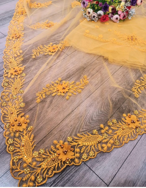 yellow soft net fabric embroidery + stone work work party wear