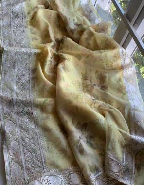 yellow organza fabric digital printed work festive