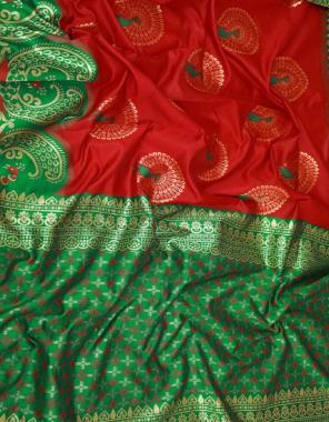red +green soft lichi silk fabric jacquard work casual