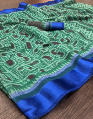 light rama soft linen  fabric digital print satin patta work casual