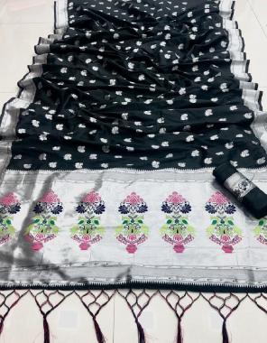 black soft silk fabric sliver zari weaving work party wear