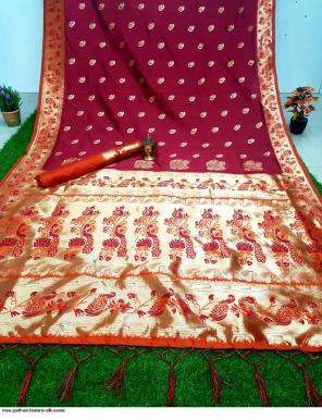 marron banarasi silk fabric weaving  work casual