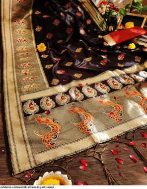 black  art weaving silk fabric weaving silk work party wear