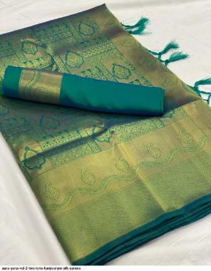 sky kanjivaram silk fabric jacquard  work festive