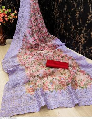 light blue organza silk fabric embroidery work festive