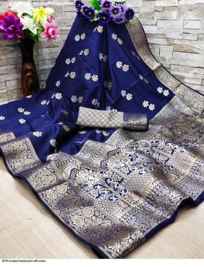 blue  kanjivaram silk fabric jacquard  work party wear