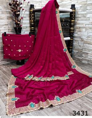 dark pink pure vichitra silk fabric embroidery work festive