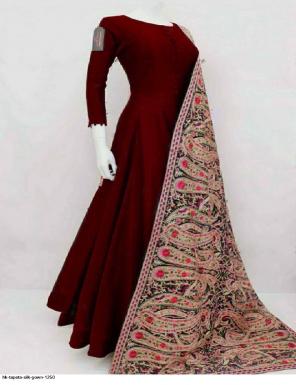 marron taffeta silk fabric plian work casual