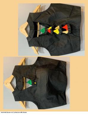 black  phantom silk fabric plian work festive