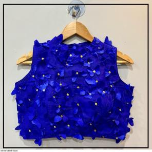 blue  net  fabric fancy work party wear