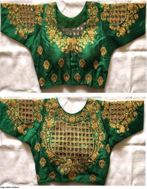 green fentam silk fabric embroidery work running