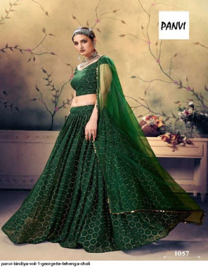 green georgette fabric mukesh work wedding