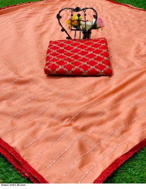 orange vichitra silk fabric embroidery+sequence work casual