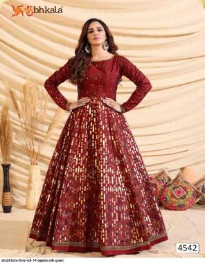 marron taffeta silk fabric golden work ethnic
