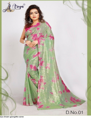 light green georgette fabric printed work ethnic