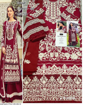 marron pure cotton fabric embroidery work party wear