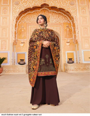 coffee georgette fabric embroidery work wedding