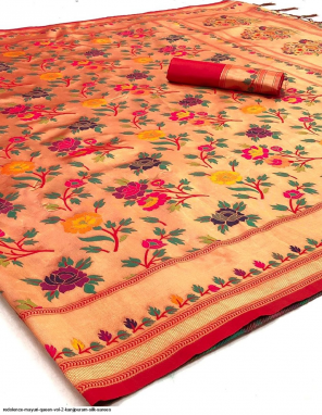mutli pure kanjivaram silk fabric weaving print work festive