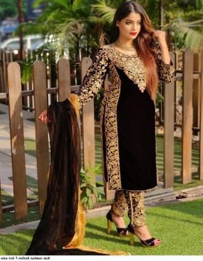 black 9000 velvet fabric embroidery + stone work casual