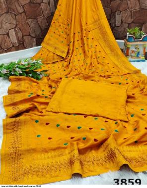 yellow vichitra silk fabric embroidery work ethnic
