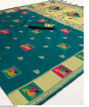 rama paithani silk fabric golden jacquard  work party wear