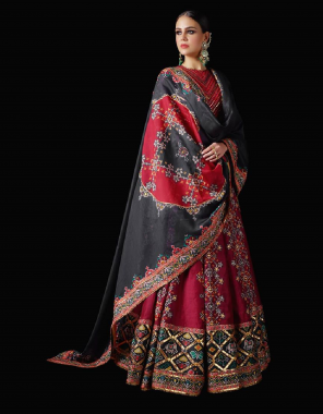 red + black  patola silk fabric printed work party