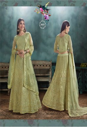 pista net fabric embroidery work wedding wear
