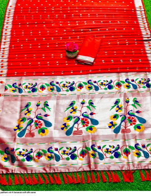 red soft silk paithani fabric paithani work wedding