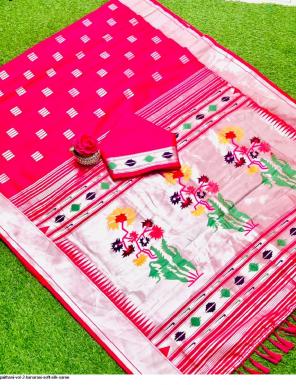 pink  soft silk paithani fabric sliver zari weaving work casual