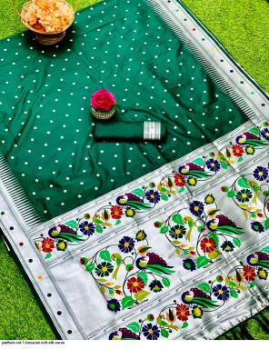 green soft silk paithani fabric sliver zari weaving work wedding