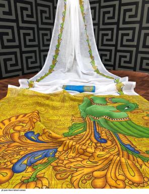white pure linen fabric digital print work ethnic