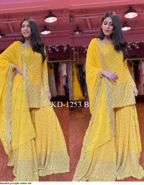 yellow georgette fabric thread + sequence work ethnic