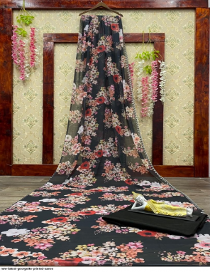 black georgette fabric printed work wedding