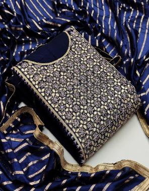 blue chanderi cotton fabric fancy work party wear