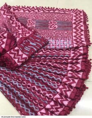 burgandi kota silk fabric printed work casual