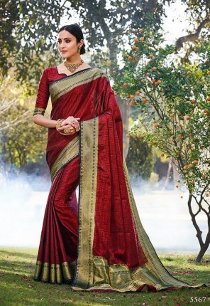 red banarasi fabric plain work festive wear