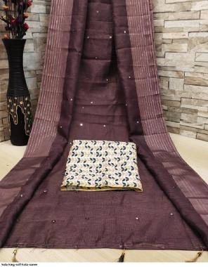 coffee soft kota silk fabric weaving + mirror work casual