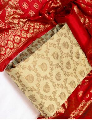 cream banarasi jacquard  fabric jacquard work ethnic