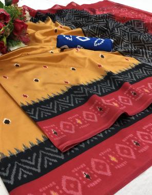 yellow art silk fabric printed work running
