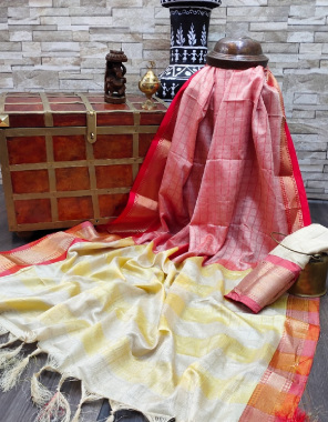 red cotton silk fabric printed work festive