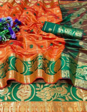 orange monika fabric printed work running